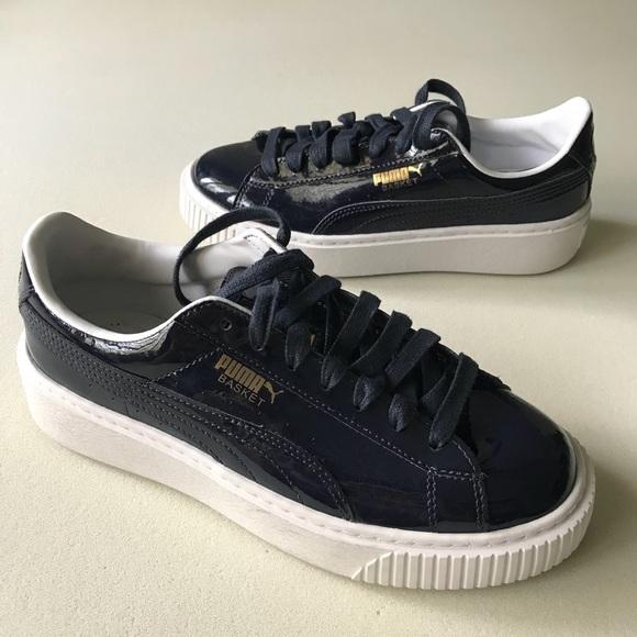 2996b2220216 Puma Basket Heart Sneaker Navy Patent Size 7   7.5